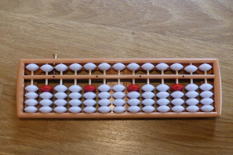 Soroban Blanc et rouge 13 colonne avec bouton de remise à zéro