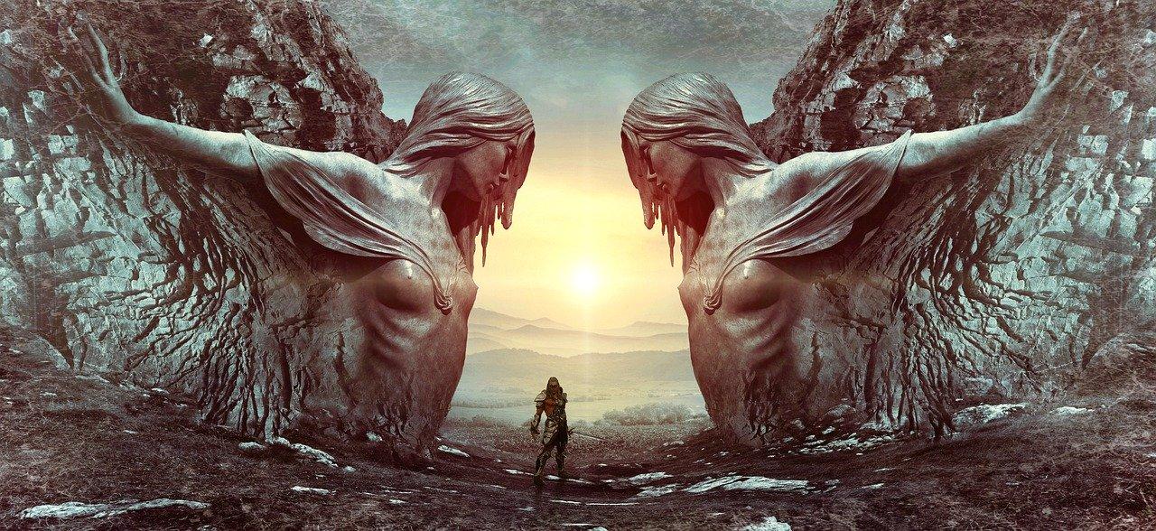 fantasy, portal, man