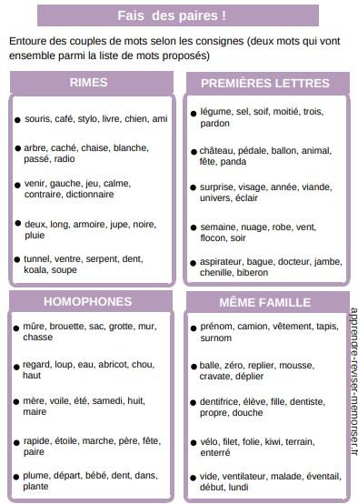 jeu fais des paires lecture orthographe