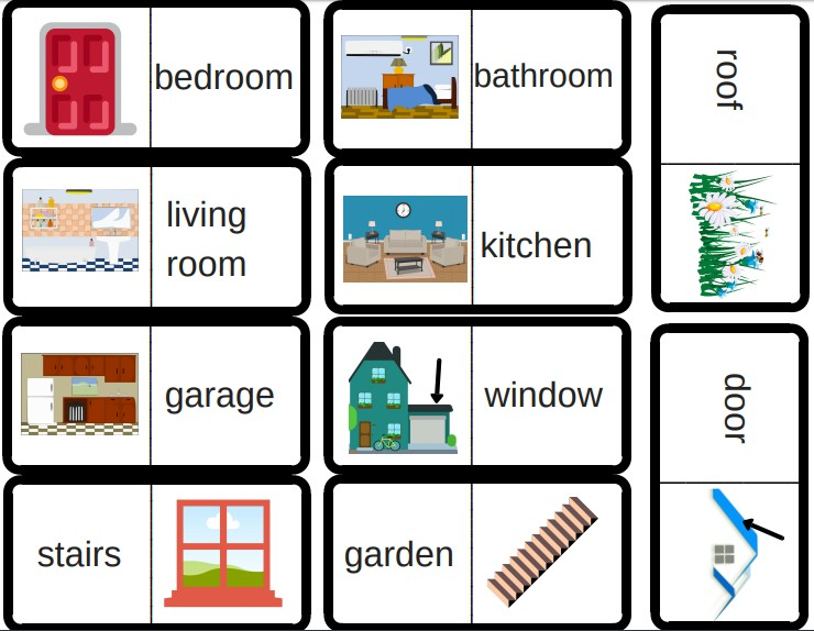 3 jeux de dominos pour travailler le vocabulaire en anglais couleurs v tements pi ces de la. Black Bedroom Furniture Sets. Home Design Ideas