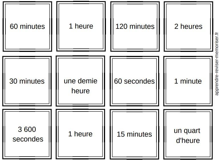 jeu memory durée