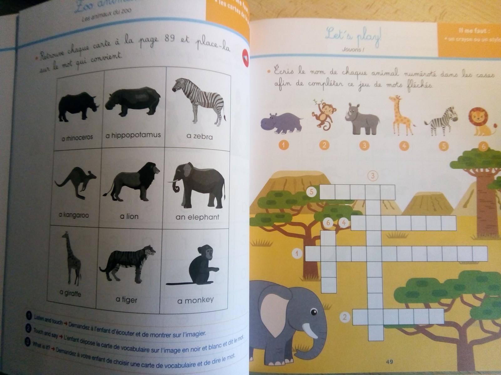 cahier activités anglais montessori enfants