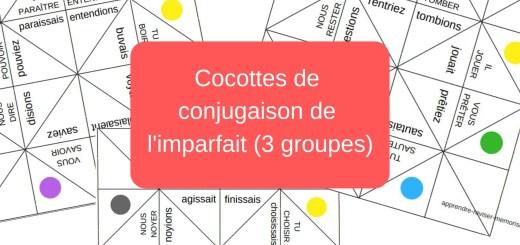 Cocottes de conjugaison de l'imparfait (3 groupes)