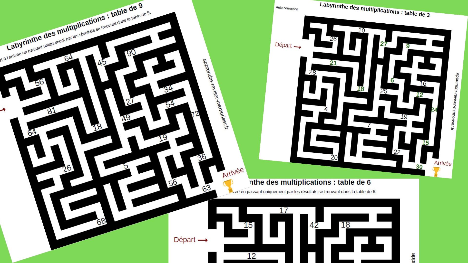 Labyrinthes des multiplications : réviser les tables de