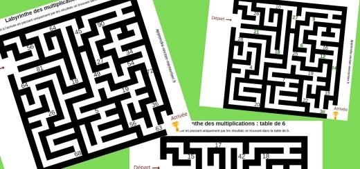 labyrinthes tables de mutliplication