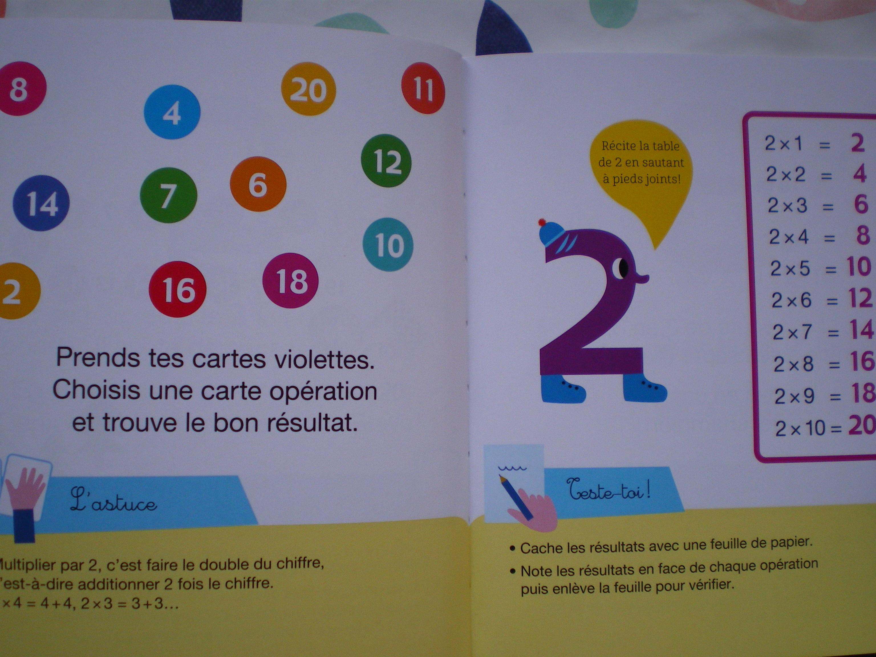 cartes apprendre tables de multiplication