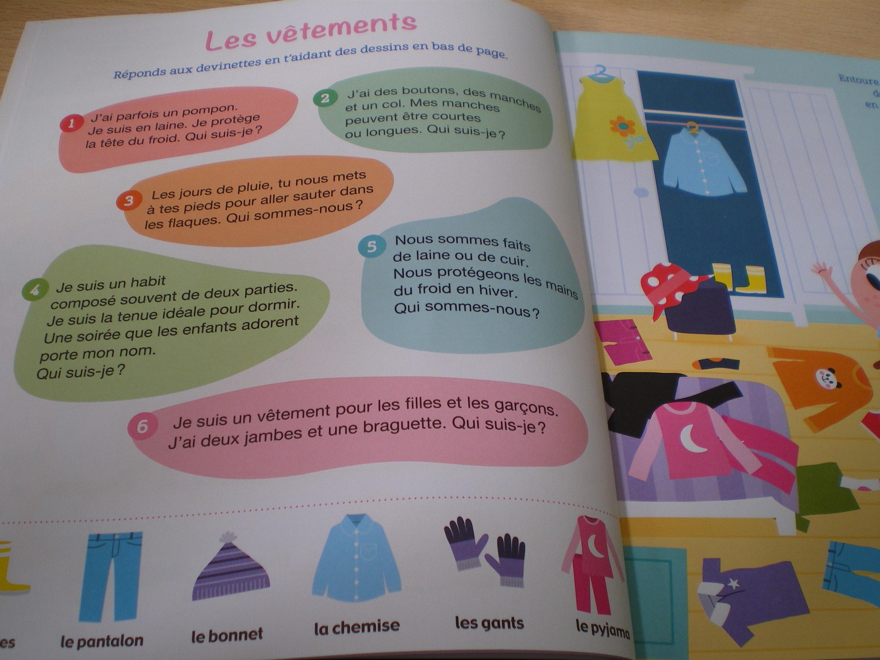 cahier apprendre vocabulaire maternelle