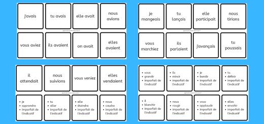 Dominos de conjugaison de l'imparfait de l'indicatif