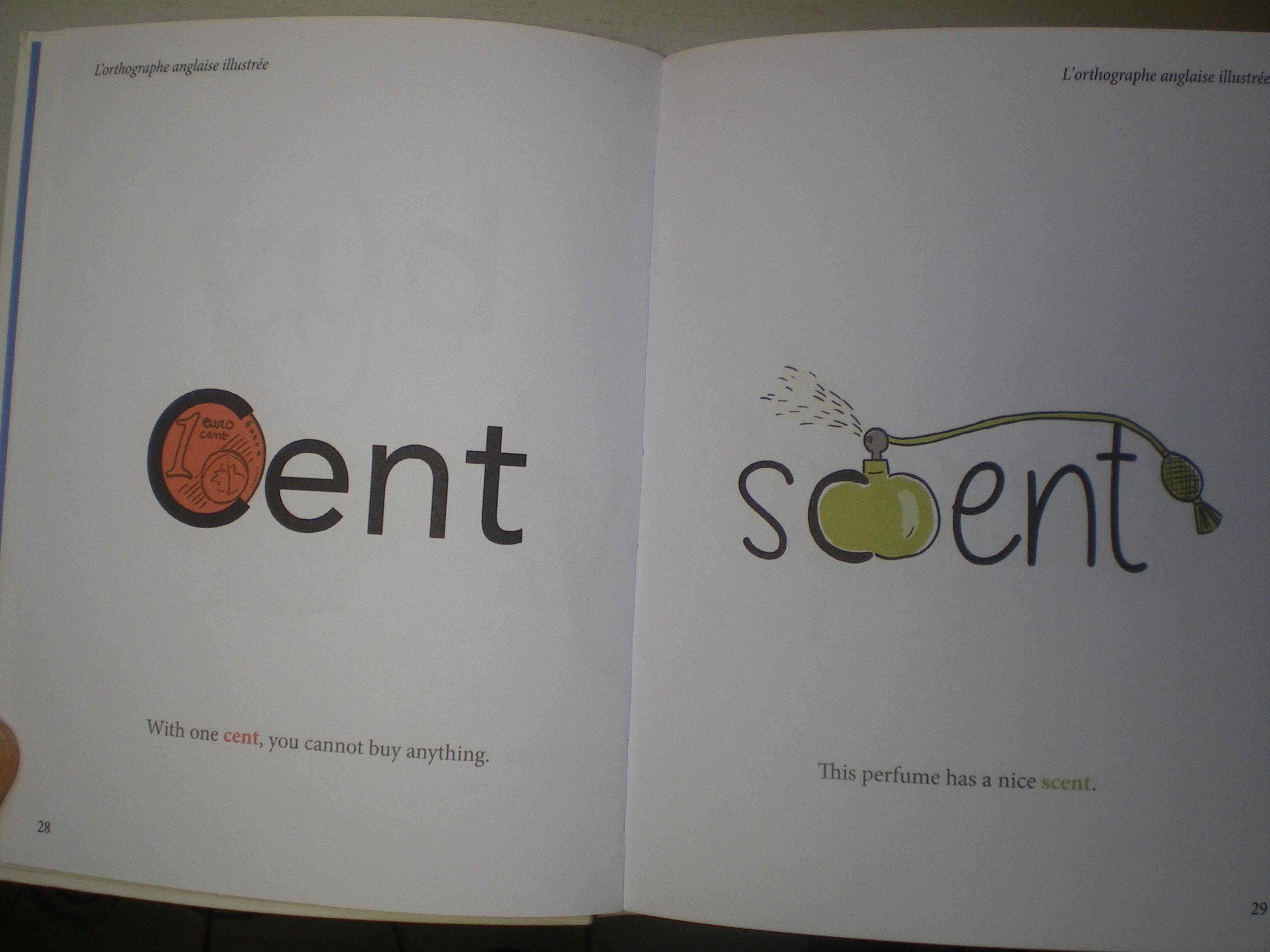 dessins orthographe illustrée anglais