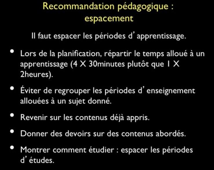 recommandations pédagogiques selon les neurosciences