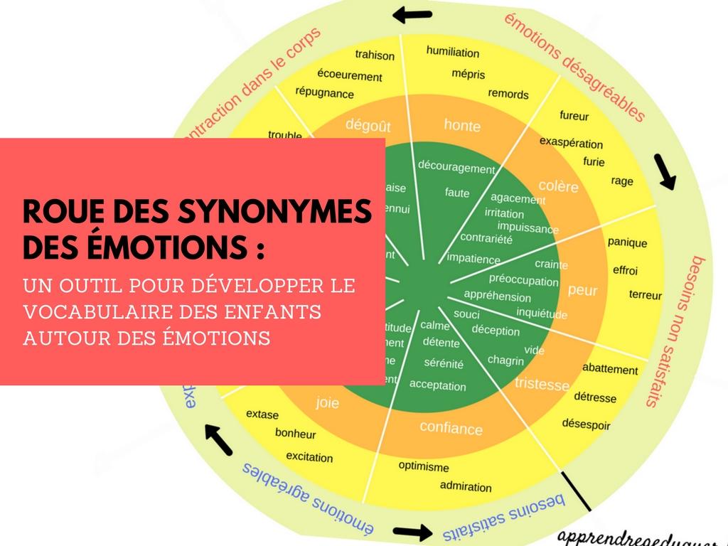 roue des synonymes des emotions un