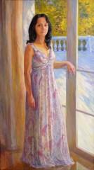 Portrait d'une jeune femme 180x110 peinture à l'huile