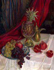 Nature morte avec un ananas. 60x70 peinture à l'hiule
