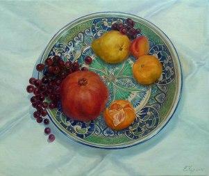 Nature morte avec les fruits. Trompe-l'oeil. 60x70 peinture à l'huile