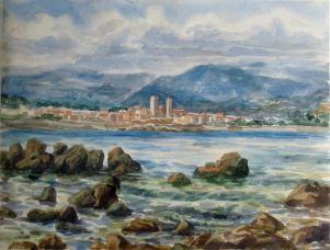 Vue sur Antibes 30x45 aquarelle