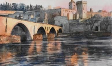 Avignon. Aquarelle faite par mon étudiante