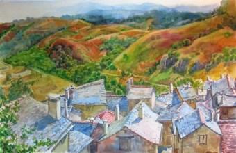 Vue de Barre-Des-Cévennes sur la Mont Aigoual 40x50 aquarelle