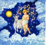 Signe astrologique. L'année du Chèvre. 30x30 aquarelle