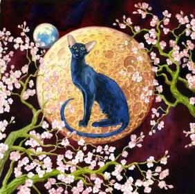 Signe astrologique. L'année du Chat. 30x30 Aquarelle alla prima