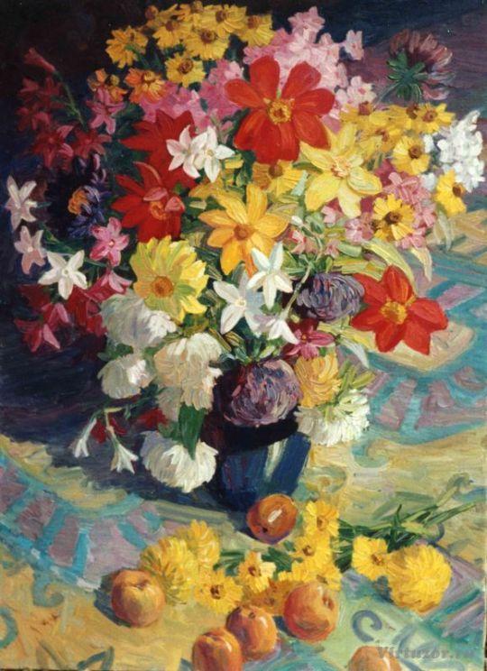 Fleurs du jardin. 70x90 Huile sur toile