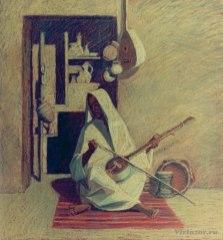 Musicien. Série sur la terre éternelle 55x65 pastel sur carton