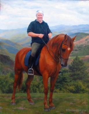 portrait équestre 100x70 peinture à l'huile