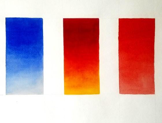 Mélange de couleurs à l'aquarelle. Exercices.