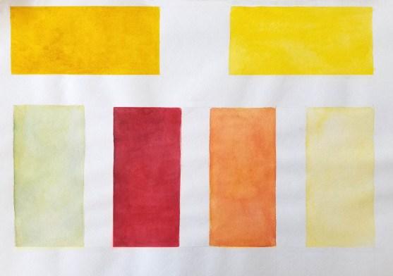 Mélange de couleurs à l'aquarelle. Exemple. Exercice. Glacis.