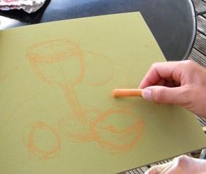 peindre un verre transparent au pastel. La composition générale