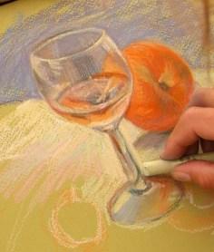 peindre un verre transparent au pastel. verre réflexes
