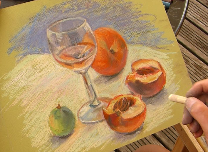 peindre un verre transparent au pastel. nature morte