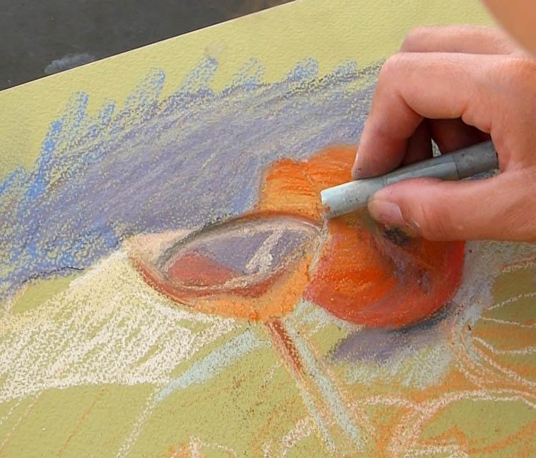 peindre un verre transparent au pastel. déterminer la forme