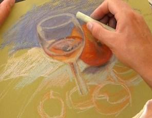 peindre un verre transparent au pastel. quelques réflexes