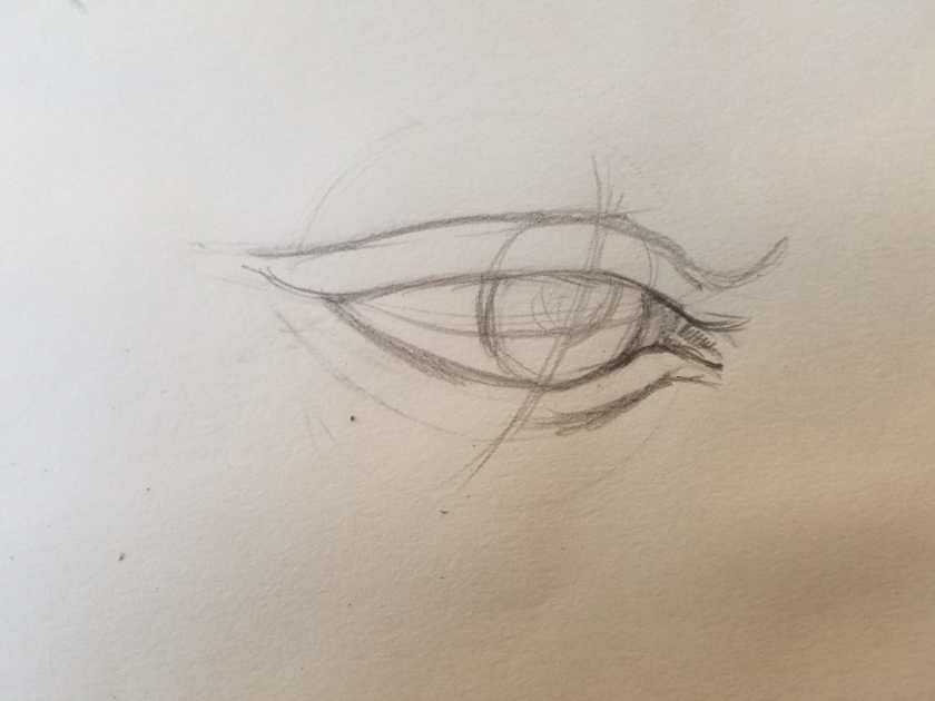 Comment dessiner des yeux baissés.