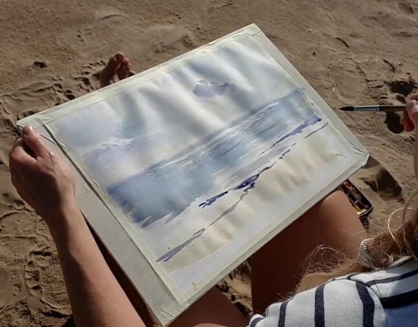 Comment peindre la mer en aquarelle première couche