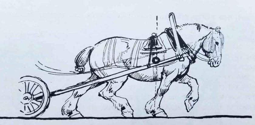 Le cheval tracte un attelage. Apprendre à dessiner un cheval