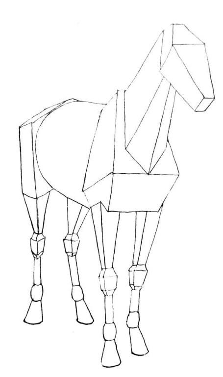 Comment dessiner un cheval. la géométrie des formes du cheval.