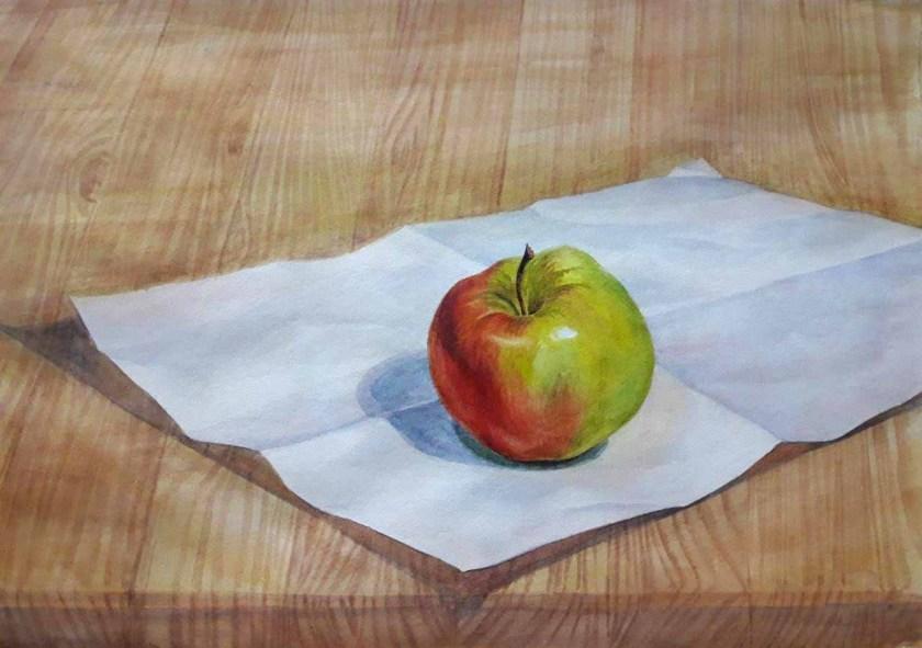 Pomme. La couche finale. Comment mélanger les couleurs à l'aquarelle.