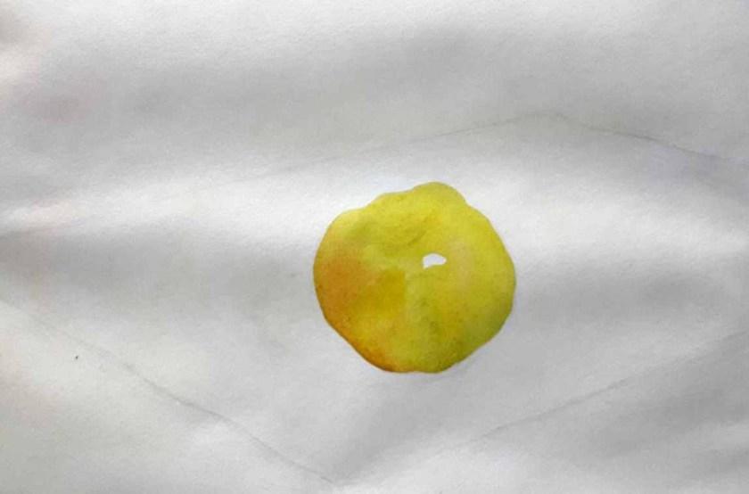 Comment mélanger les couleurs. Une pomme. Première couche de la peinture