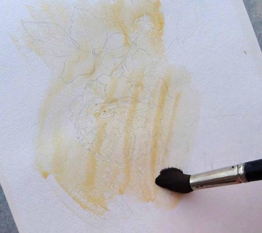Première couche de peinture pour prindre une rose