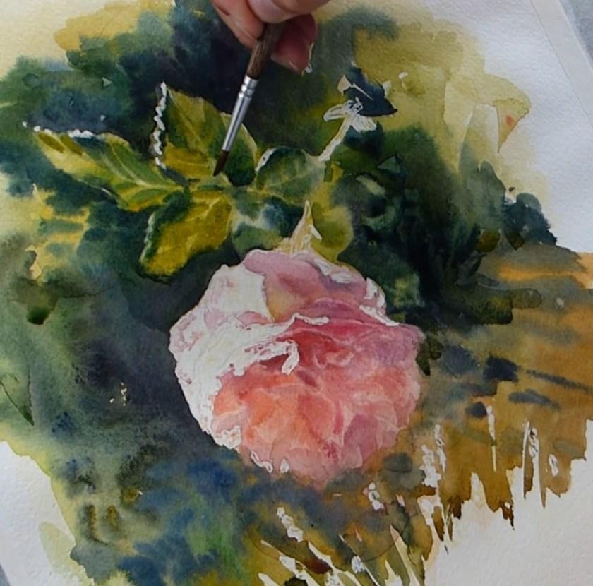 Comment peindre une rose. Les feuilles