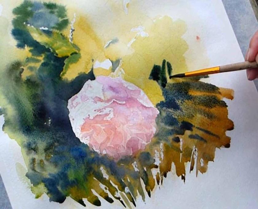 Comment peindre une rose. Les fondus du fond