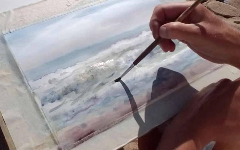 Peindre les vagues à l'aquarelle. Les coups de pinceau