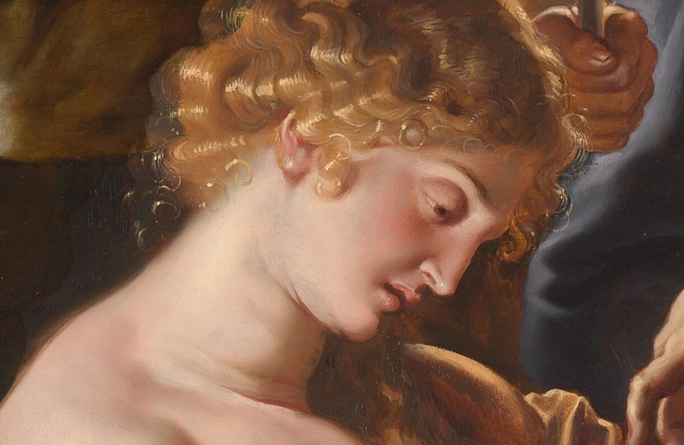 Le regard de Dalila vers Samson en sommeil profond