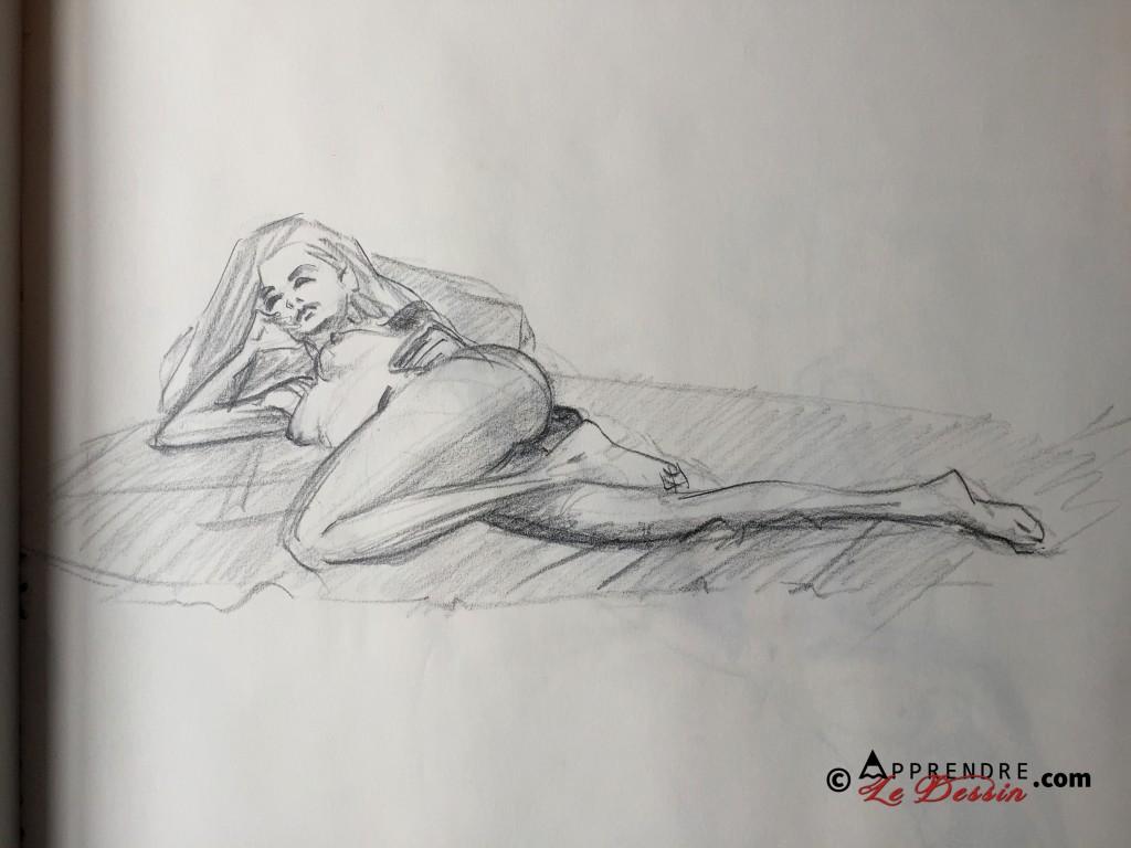 Dessin Pose Nue Modele Femme 03