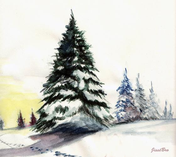 Comment Peindre Un Sapin A L Aquarelle Apprenez A Dessiner Com