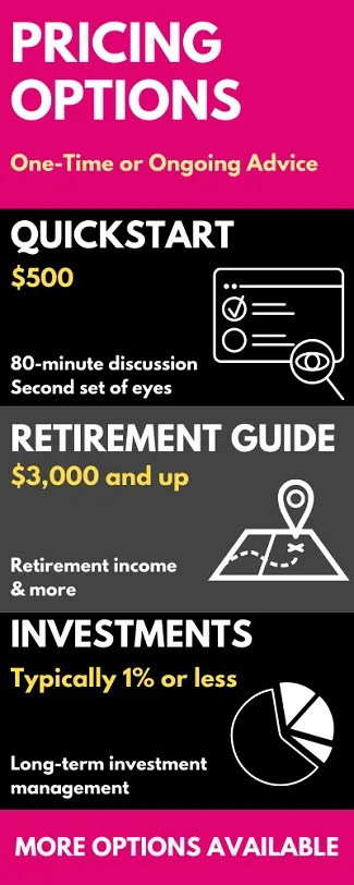 Overview of pricing for one-time financial advice, retirement planning, or investment management