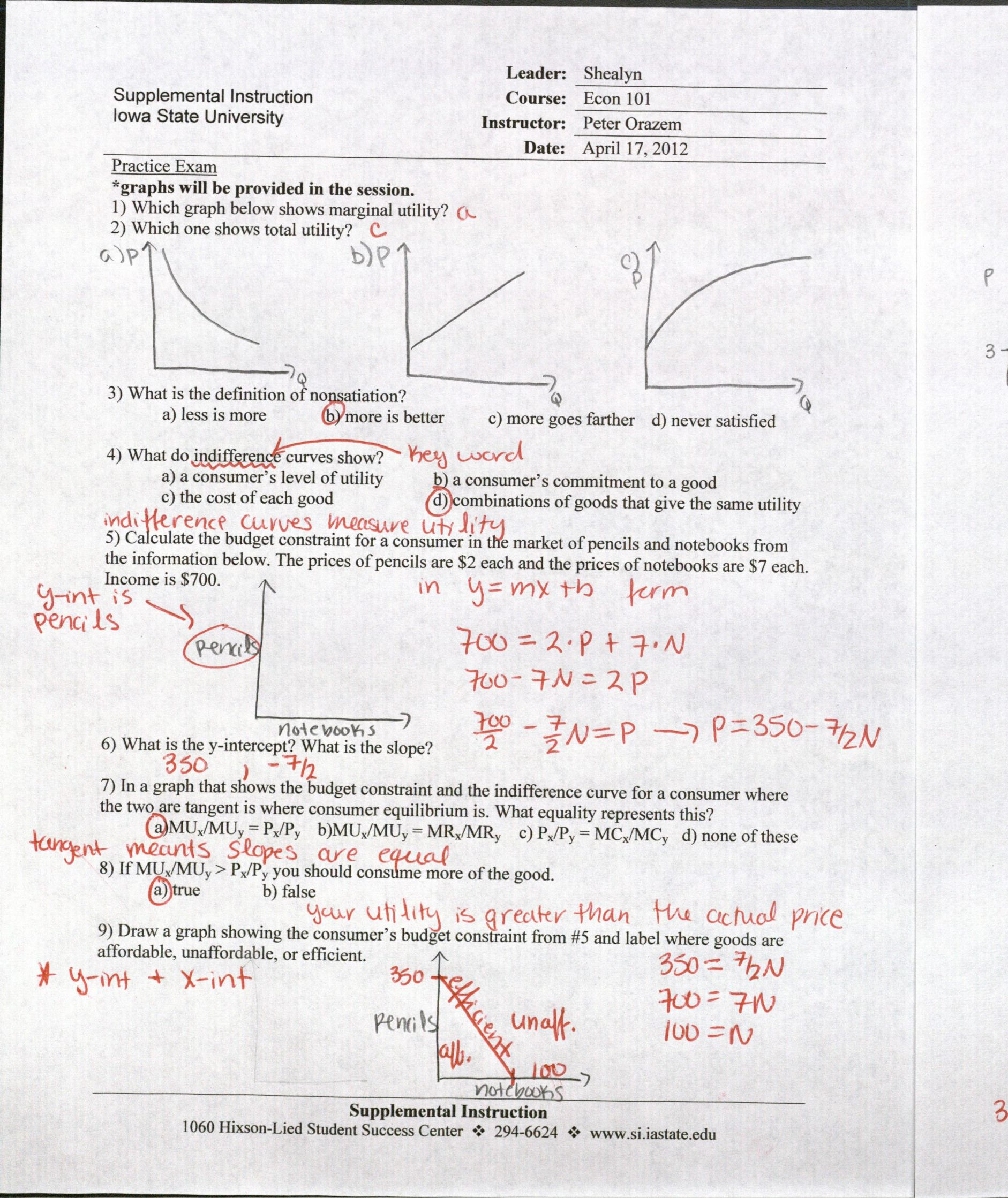 Supply And Demand Worksheet With Answers