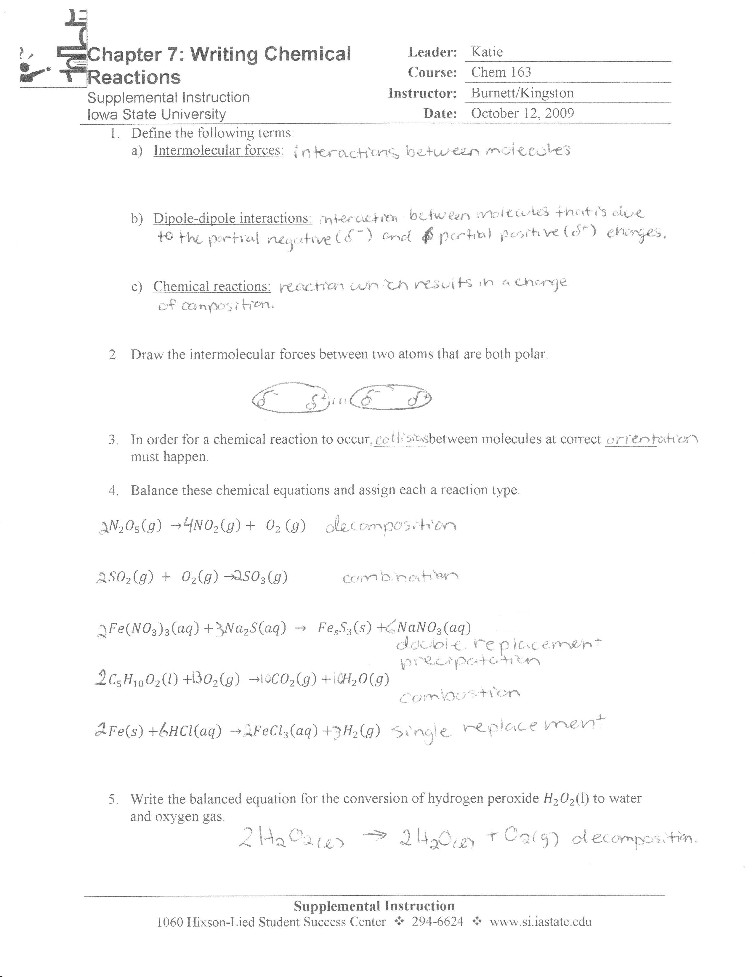 Chem 163 Supplemental Instruction