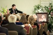 Chris Zavala Jr. gives the eulogy for his wife, Michelle Zavala at her funeral service at Cook-Walden/Capital Parks Funeral Home, in Pflugerville, Texas on August 5, 2017.